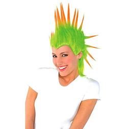 Amscan Party Ready Team Spirit Mohawk Wig, Green, 10.6 x 8.2
