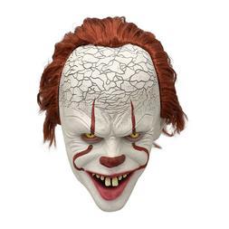 Pennywise Latex Full Mask w/Hair Horror Clown Joker for Hall