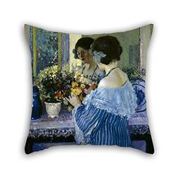 Pillow Cases Of Oil Painting Frederick Carl Frieseke - Girl
