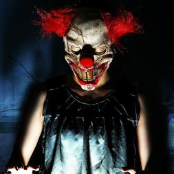 Scary Clown Mask Adult Mens Latex & Red Hair Halloween Evil