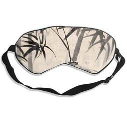 Oh-HiH 100% Silk Eye Mask Bamboo Ink Leaves Sleeping Blindfo