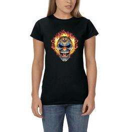 Smiling Evil Clown Mask Hair On Fire Women's T-Shirt Tee