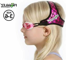 Frogglez Kids Swim Goggles with Patented Painless Strap Tech