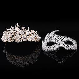 Stuffwholesale White Pearl Gold Tiara Crown with Crystal Rhi