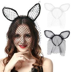 Women Sexy Lace Veil Mask Rabbit Ear Hairband Headband Hair