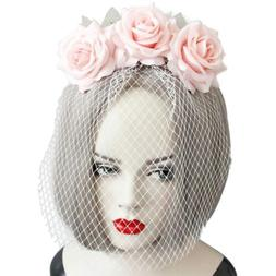 Womens Big Rose Mask Veil Hair Hoop Wedding Party Brides Hea